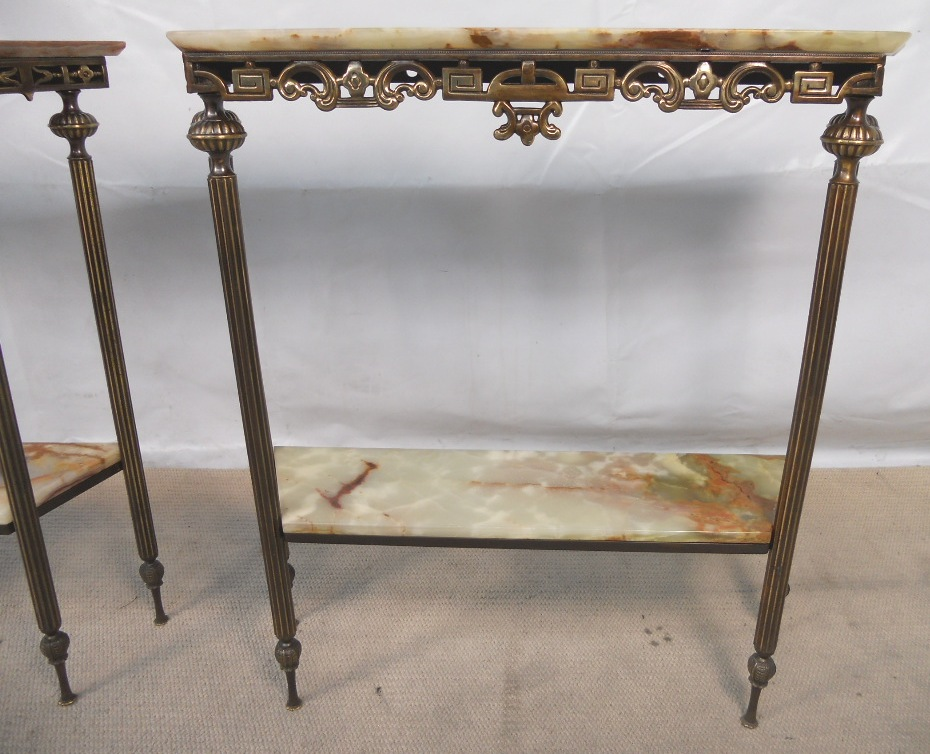 Pair Regency Style Ornate Brass Marble Top Console Tables